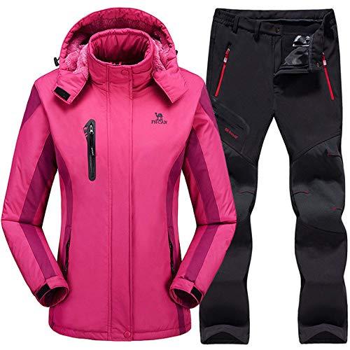 BNJDBNJD Outdoor-Skianzug Skianzug für Frauen Skijackenhose Wasserdichter Mountain-Skianzug Snowboard-Sets Winter, Rose Red, XL