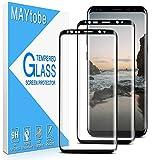 MAYtobe [2 piezas] Vidrio templado para Samsung Galaxy S8 Plus, Película protectora de pantalla [Borde curvo 3D] [Antiarañazos] [Sin burbujas] [Dureza 9H] [Sin huellas dactilares] [HD Clear]