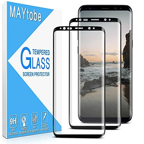 MAYtobe [2 pezzi] Samsung Galaxy S8 Plus in vetro temperato, pellicola protettiva per schermo [bordo curvo 3D] [antigraffio] [senza bolle] [durezza 9H] [senza impronte digitali] [HD Clear]