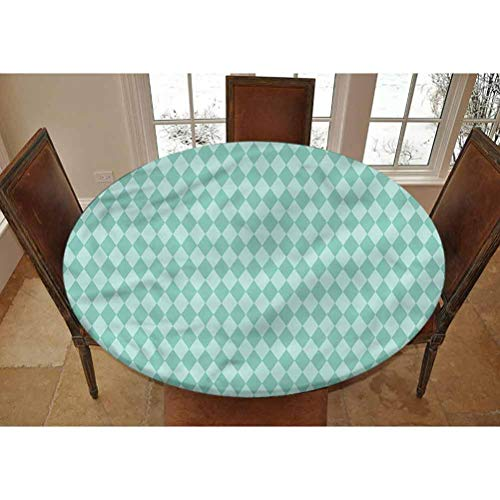 LCGGDB Aqua Elastic Edged Polyester Fitted Tablecolth -Rectangular Geometric Tile- Small Round Fitted Table Cover - Fits Tables up to 40-44' Diameter,The Ultimate Protection for Your Table