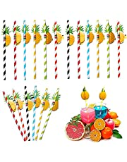 Pajitas de Papel,50 Piezas Pajitas Beber Biodegradables 3D Frutas Pajitas para Bebidas,Playa,Cumpleaños,Bodas,Cóctel,Decoración 19.7cm