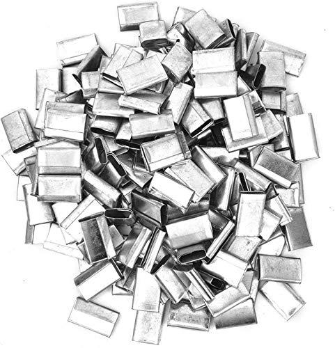 Sello de fleje de Metal, 400 Piezas de Sellos de flejado de Tipo Abierto Hierro Chapado en Zinc para Herramienta de Correa de plástico PP de 12-16 mm