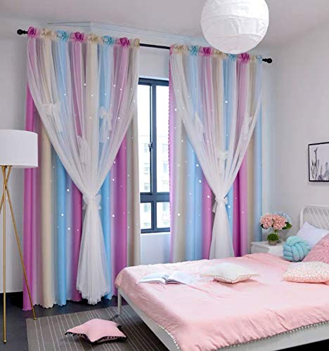 """Yancorp Room Darkening Curtain Sets 2 Panels Total Width 70"""" 104"""" Curtains for Girls Bedroom 2 Layers Star Cutout Window Drapes Living Room"""