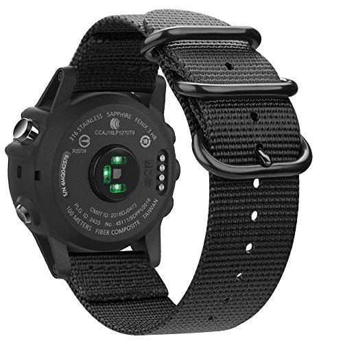FINTIE Bracelet Compatible avec Garmin Fenix 3/Fenix 3 HR/Fenix 5X/Fenix 5X Plus - 26mm Bande de Remplacement Ajustable en Nylon Tissé, Noir