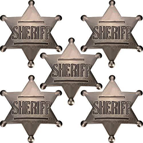 5 Pieces Deputy Badge Metal Badge Old West Cowboy Costume Prop Badge Black Sliver Halloween Badge Party Supplies