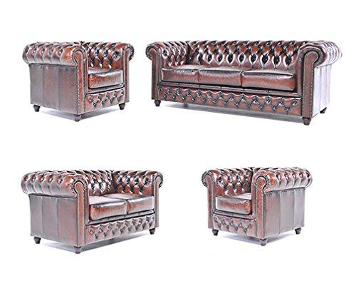 Original Chesterfield Sofas und Sessel - 1/1 / 2/3 Sitzer - Vollständig Handgewaschenes Leder – Antik Braun