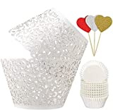 BAKHUK 100pcs White Cupcake Wrappers and 200pcs Cupcake Liners, Bake Cake Paper Lace Cupcake Wrappers for Wedding Birthday Party Decoration