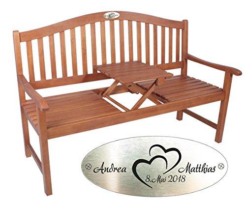 Geschenke 24 Bank met gravure, gepersonaliseerde tuinbank met naam en datum, origineel huwelijkscadeau met gravureplaatje, ideaal voor vrienden en familie bruin (natuur).