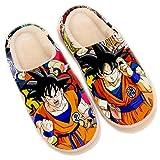 Zapatillas de Estar por Casa Mujer Hombre Pantuflas Memory Foam CáLido Antideslizantes Interior Al Aire Libre Dragon Ball Kakarotto Super Saiyan Son Goku Slippers Anime Zapatos,35/37 EU
