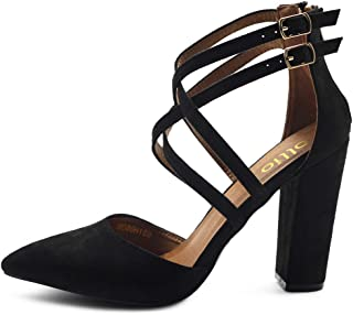 Ollio Women's Shoes Zip Up Pointed Toe Buckle Cross Ankle Straps Chunky Heel Pump H108