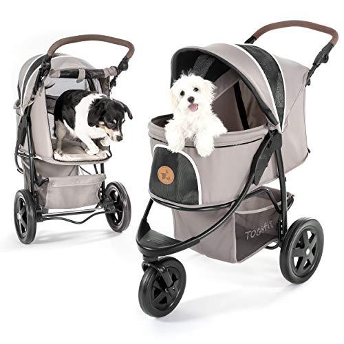 TOGfit Pet Roadster Lujoso Carrito para Perros y Mascotas Hasta 32 kg, Ruedas Grandes, Altura Regulable, Incluye Colchón, Pequeño y Plegable, Color Gris