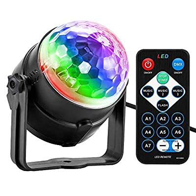 Party Light, Disco Ball Party Lights Sound Activated with Remote Control, 7 Color Modes Strobe Light for Home Room Dance Birthday DJ Bar Karaoke Xmas Wedding