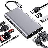 Estación de acoplamiento 10 en 1, adaptador USB C para MacBook Pro, pantalla dual con 4K HDMI y VGA, carga PD de 65 W, 3 puertos USB 3.0, conector RJ45 Gigabit Ethernet, lector de tarjetas SD/TF.