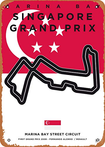 Wanfst Vintage Look Metal Sign - My F1 Racetrack Posters F1 Marina Bay Race Track - 8 x 12 Tin Sign