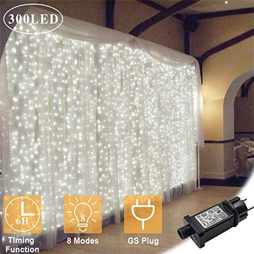 OMGAI LED Lichtervorhang 300 LEDs, 36V 6W, 3m x 3m Vorhang-Licht Mit 8 Modi Für Weihnachten, Neujahr, Partei, Hochzeit, Daheim Dekoration, Weiß
