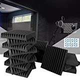 2' thinness of Soundproofing Wedge Studio Foam Wedge, Eau 12 Pcs of 2' X 12' X 12' Acoustic Foam Panels, Ideal for Home & Studio Sound Insulation with Adhesive Pads