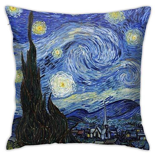 Federa per cuscino, motivo: notte stellata, Van Gogh, 45,7 x 45,7 cm, in tessuto felpato, decorazione per la casa, divano, federa morbida e confortevole, 45 cm x 45 cm