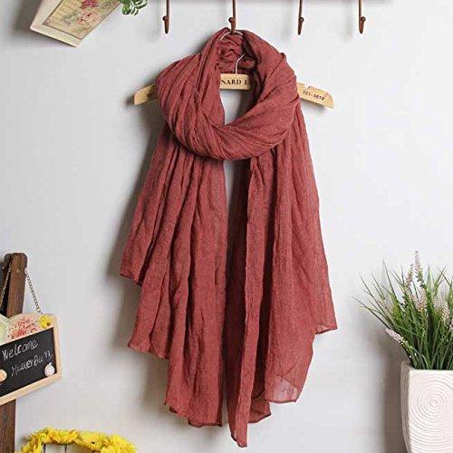 BAGEHUAN Baumwolle und Leinen Schal Frauen Lange Winter Farbe großen Schal mit doppeltem Frühjahr und Herbst Reisen Wild Schal Studenten, Rostrot
