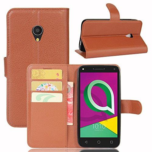 Hüllen Für Alcatel U5 3G Handyhülle 5.0 Zoll Flip Luxus PU Leder Silikon Brieftasche Schutzhülle für das Handy Handytasche Für Alcatel U 5 3G 4047D 4047X 4047F 4047 D AlcatelU5 3G Abdeckung (brown)