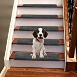 Jorviz Bullnose Carpet Stair Treads Set of 14 Soft Non Slip Self Adhesive Indoor Stair Protectors Pet Friendly Rugs Covers Mats Skid Resistant Washable Rubber Backing Dark Grey (9.5' x 30'x1.2')