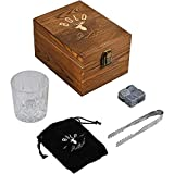 Bold Antler Whiskey Stones Gift Set - 1 Glass, 4 Whiskey Chilling Stones/Bourbon Stones, 1 Slate Coaster, Stainless Tongs Presented In An Elegant Wooden Box