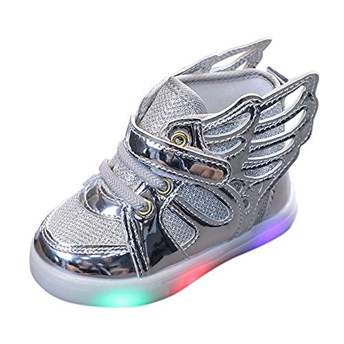 Unsex Mary Jane Sneaker Lauflernschuhe mit LED-Lichtleuchte Prinzessin Schuhe Kinder Sandalen Partei Schuhe Kostüm Zubehör Karneval Verkleidung Party Aufführung Fasching Tanzball (Silber, 27)