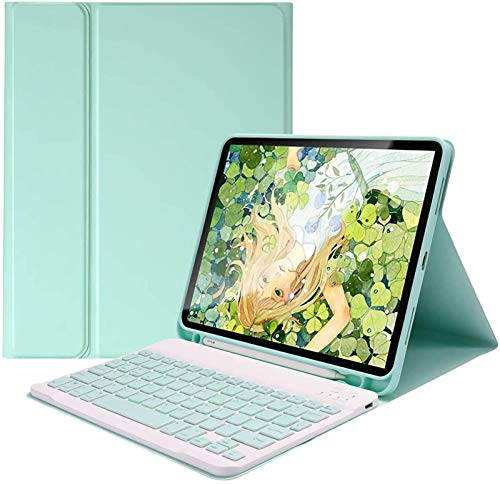 FANG Keyboard Case for IPad Pro 11' 2020 [Supports 2nd Gen Pencil Charging] - Soft TPU Back Cover with Pencil Holder, Detachable Wireless Keyboard,Green