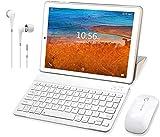 Tablette Tactile 10 Pouces 4G, WiFi Tablette PC Android 9.0 avec 3 Go de RAM et 32 Go/128Go ROM, 8500mAH Quad Core 8MP HD Caméra Dual SIM Tablette 10' Pas Cher GPS S62 Plus(Or)