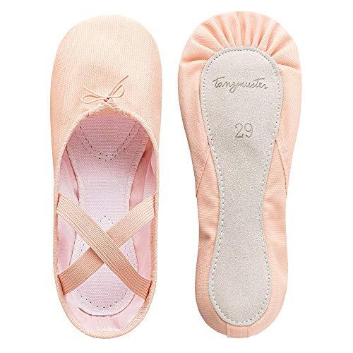 tanzmuster ® Ballettschuhe Mädchen Ballettschläppchen - Dani - ganze Ledersohle in rosa-apricot, Größe:36