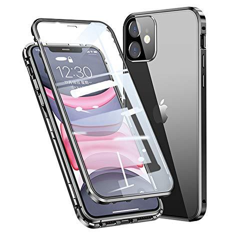 HaptiCover Anti Peepping Hülle für iPhone 11 Magnetische Handyhülle 360-Grad-Schutz Starke Magneten Aluminium Rahmen Gehärtetes Glas Stoßfest Metall Flip Hülle