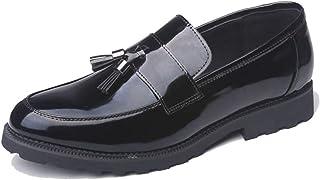 [WEWIN] タッセルローファー メンズ 革靴 軽量 エナメル スリッポン ドライビングシューズ Uチップ プレーントゥ ビジネス カジュアル 厚底 防滑 紳士靴 おしゃれ