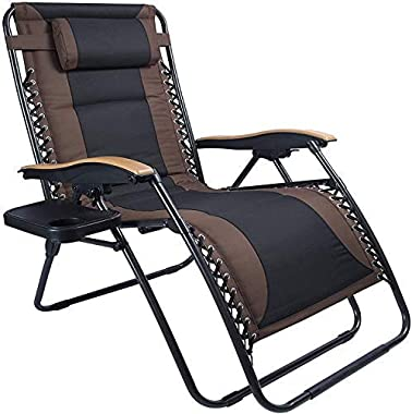 LUCKYBERRY Deluxe Oversized Padded Zero Gravity Chair XL Brown Black Cup Holder Lounge Patio Chairs Outdoor Yard Beach Suppor