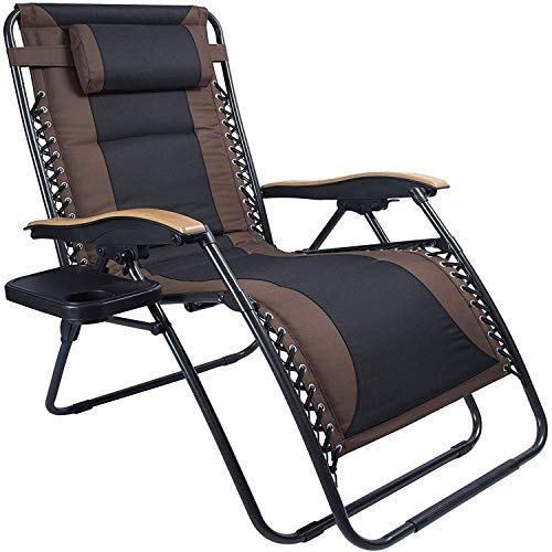 LUCKYBERRY Deluxe Oversized Padded Zero Gravity Chair XL Black Brown Cup Holder Lounge Patio Chairs...
