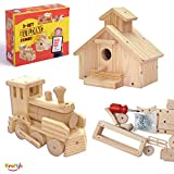 Kraftic Woodworking Building Kit for Kids and Adults, with 2 Educational DIY Carpentry Construction Wood Model...