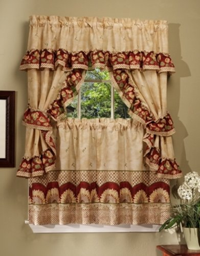 Achim Home Furnishings SFCS36AN06 Sunflower Cottage Set, 36-inch, Antique