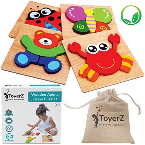 ToyerZ Wooden Animal Jigsaw Puzzles for Toddlers Educational Toy for 1 2 3 Years old Girls & Boys, Puzzles Shapes in a Gift Box. Montessori Wooden Puzzles Learning Toy for Boys & Girls
