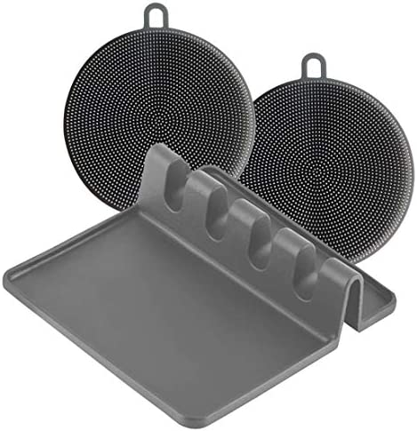 Silicone Kitchen Spoon Rest and 2 Silicone Sponges Bundle Utensil Holder for Countertop with product image