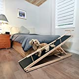DoggoRamps - Bed Ramp for Small Dogs, Adjustable for All Beds up to 37' - Solid Hardwood, Made in North America