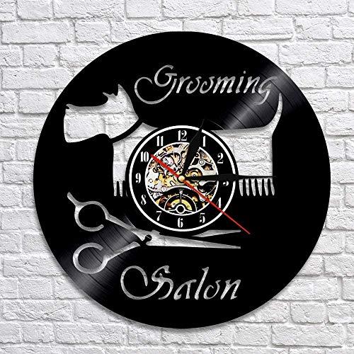 ZZLLL Salón de peluquería para Perros Decoración de Pared artística para Mascotas Baber Shop Reloj de Pared con Registro de Vinilo Vintage con iluminación LED Colorida