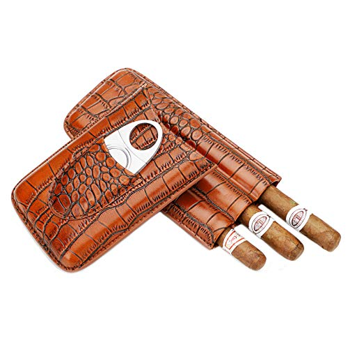 Time C club Cigar Case Leather for 3 Cigars Crocodile Skin-Style Burgundy Leather,Cigar case with Cigar Cutter, Groomsmen Gift, Birthday Gift, Fathers Day Gift, Anniversary Gift