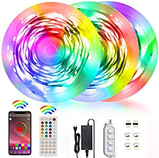 Akfado RGB LED Strip Lights 15m, 5050 RGB Bluetooth LED Lights with Remote Control Music Sync Color Changing Rope Light for Bedroom Room TV Christmas Halloween Birthday Party Festival Wedding (B08FYDCF9F)   Amazon price tracker / tracking, Amazon price history charts, Amazon price watches, Amazon price drop alerts