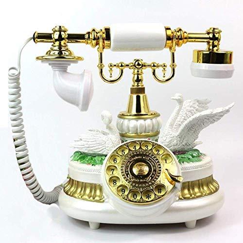 qwertyuio Teléfono Vintage Ideas De Moda Pastoral Europea Teléfono Retro Hotel/Hogar Fijo (Color, Blanco), Blanco