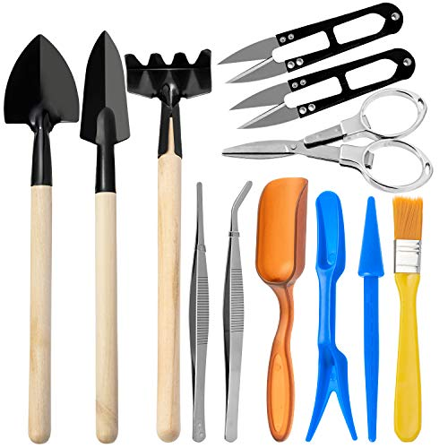 AVIDE Bonsai Tools Set, 12 Pieces Basic Bonsai Tools Kit Includes Pruning Shears, Fold Scissors, Mini Rake, Tweezer and More, Succulent Transplanting Garden Hand Tools Set