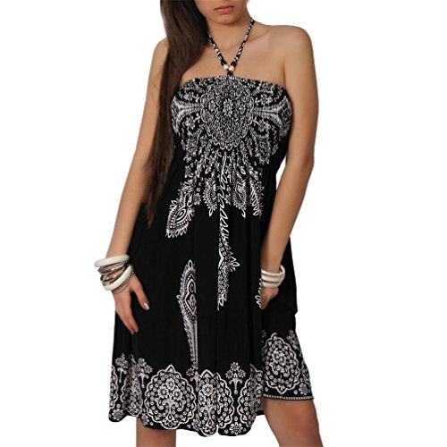 Neckholder Sommer Bandeau Kleid Holz-Perlen Damen Strandkleid Tuchkleid Tuch Aztec (29 Schwarz Weiss)