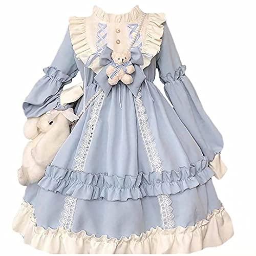 Kawaii Dress Japanese Cute Lolita Style Princess Dress Maid Costume Princess Dress Cute Japanese Sweet Dress Halloween Cosplay Disfraz Vestido de Manga Larga Adecuado para niñas Mujeres
