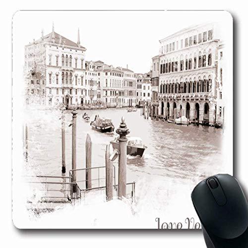 Jamron Mousepad OblongPanorama Historisches Papier Blick auf den Canal Grande Brown Texture House Travel Venedig Italien Wahrzeichen Gru脽 rutschfeste Gummimaus Pad B眉ro Computer Laptop Spiele Mat.-Nr.