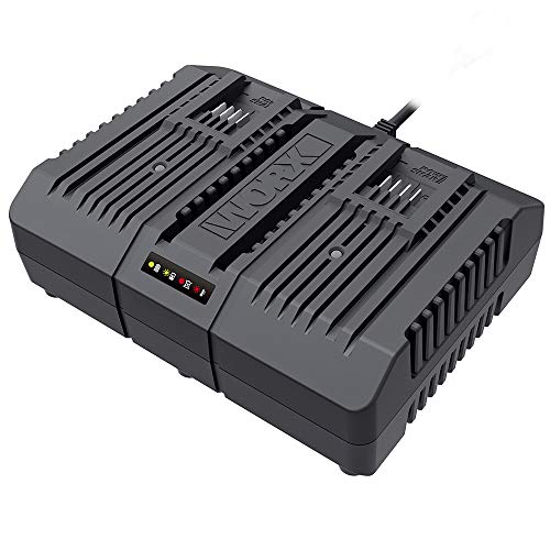 Worx WA3883 Dual-Ladegerät – Akku-Ladegerät für Worx Geräte mit 20V – 2 x 2,0 Ah – 2 Lademodi – Mit allen Worx PowerShare Akkus kompatibel