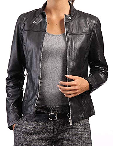 PriceRight Chaqueta negra de piel de cordero genuina para mujer, chaqueta de cuero negro de piel de cordero, chaqueta de cuero negro slim fit