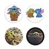 songyang Baby-Yoda - 4 imanes para nevera, oficina, cocina, pizarra, nevera, imanes redondos 3D, para decoración