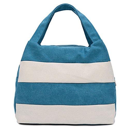 Hiigoo Ladies Handbag Stripes Daily Packages Travel Bag Canvas Bags Shopping Bag Ipad Bag (Blue)